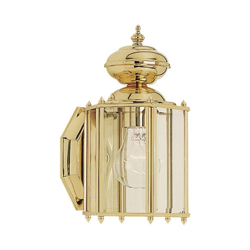 Sea Gull Lighting Outdoor Wall Light with Clear Glass in Polished Brass Finish 8507-02
