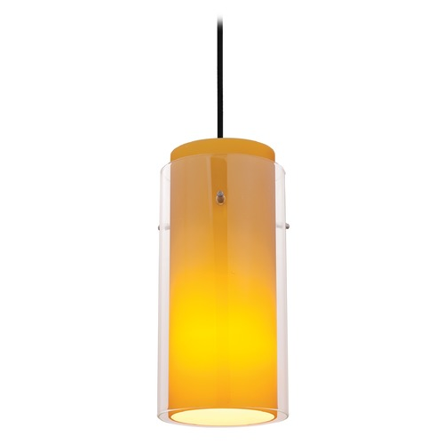 Access Lighting Modern Mini-Pendant Light with Amber Glass 28033-1C-ORB/CLAM