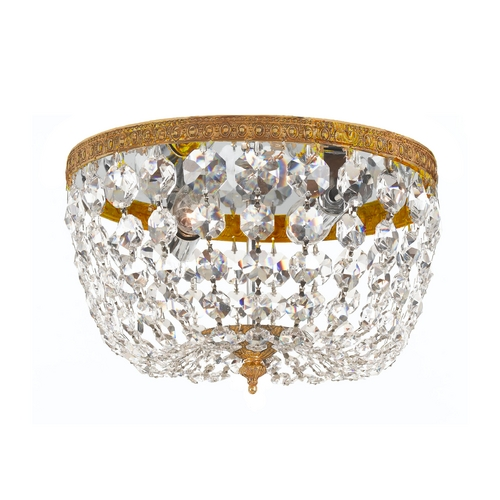 Crystorama Lighting Crystal Flushmount Light in Olde Brass Finish 710-OB-CL-SAQ