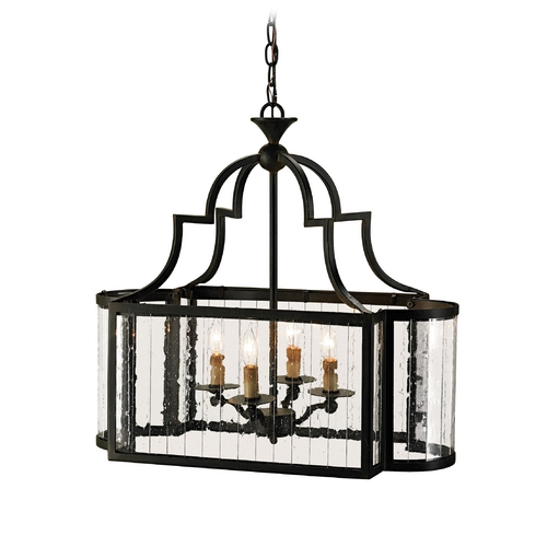 Currey and Company Lighting Pendant Light with Clear Glass in Old Iron Finish 9467