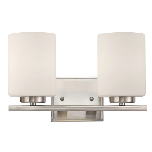 Dolan Designs Lighting Modern Bathroom Light in Satin Nickel Finish with Two Lights 3882-09