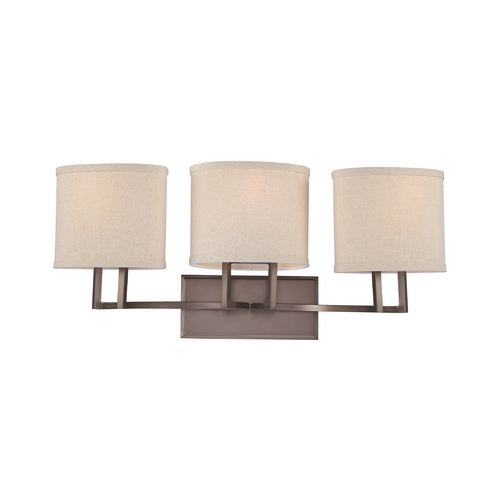 Nuvo Lighting Modern Bathroom Light with Beige / Cream Shades in Hazel Bronze Finish 60/4853