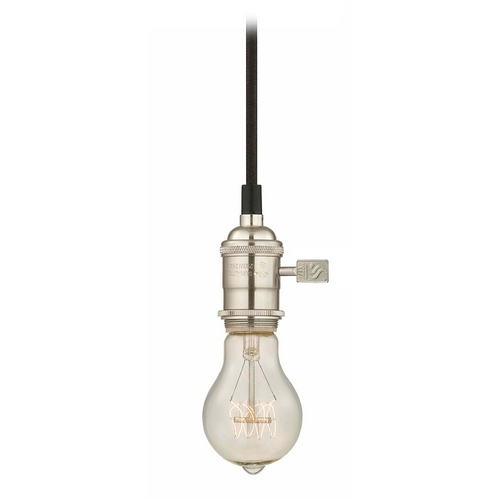 Design Classics Lighting Industrial Edison Bulb Mini-Pendant Light Satin Nickel Cloth Cord CA1-09 40A19 FILAMENT