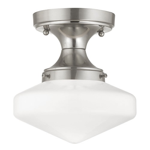 Design Classics Lighting 8-Inch Schoolhouse Ceiling Light in Satin Nickel Finish FDS-09 / GE8