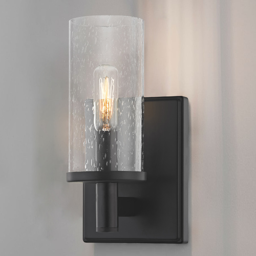 Design Classics Lighting Seeded Glass Sconce Black 2951-07