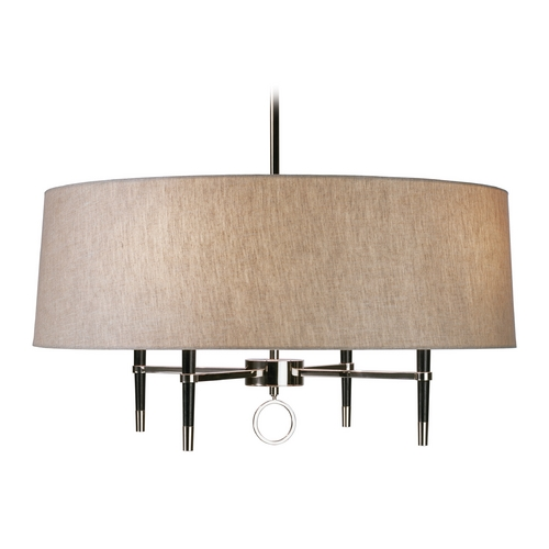 Robert Abbey Lighting Robert Abbey Jonathan Adler Ventana 1-Tier 4-Light Chandelier in Polished Nickel / Ebony Wood PN685