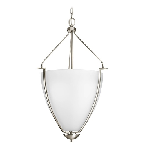 Progress Lighting Progress Pendant Light with White Glass in Brushed Nickel Finish P3969-09