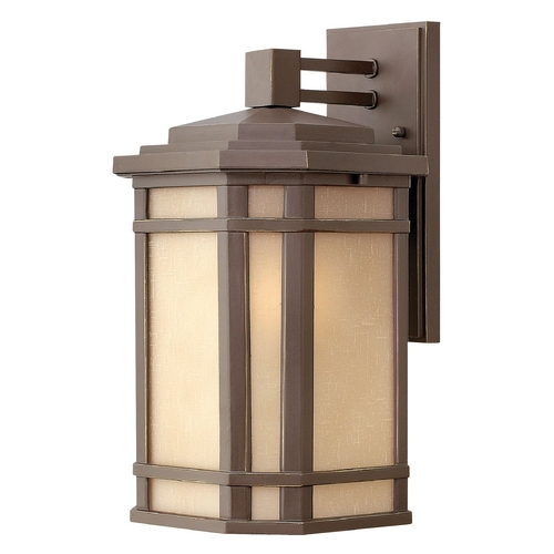 Hinkley Lighting Outdoor Wall Light with Amber Glass in Oil Rubbed Bronze Finish 1274OZ-GU24