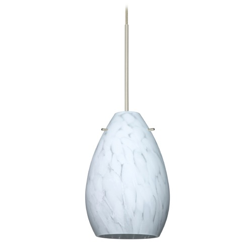 Besa Lighting Besa Lighting Pera Satin Nickel Mini-Pendant Light with Oblong Shade 1XT-171319-SN