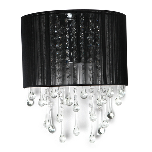 Avenue Lighting Avenue Lighting Beverly Drive Crystal Sconce with Black Silk Shade HF1511-BLK