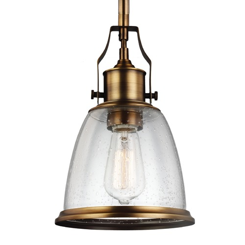Feiss Lighting Feiss Hobson Aged Brass Mini-Pendant Light P1354AGB
