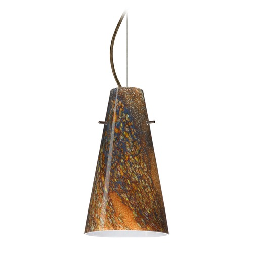 Besa Lighting Besa Lighting Cierro Bronze LED Mini-Pendant Light with Conical Shade 1KX-4124CE-LED-BR