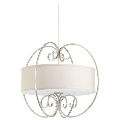 Progress Lighting Progress Lighting Overbrook Silver Ridge Pendant Light with Drum Shade P5336-134