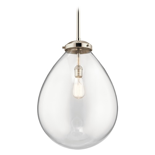 Kichler Lighting Modern Pendant Light Polished Nickel Claudia by Kichler Lighting 43296PN