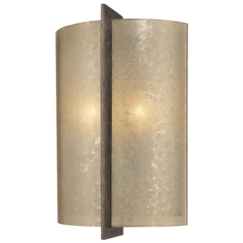 Minka Lighting Sconce Wall Light with Beige / Cream Glass in Patina Iron Finish 6390-573