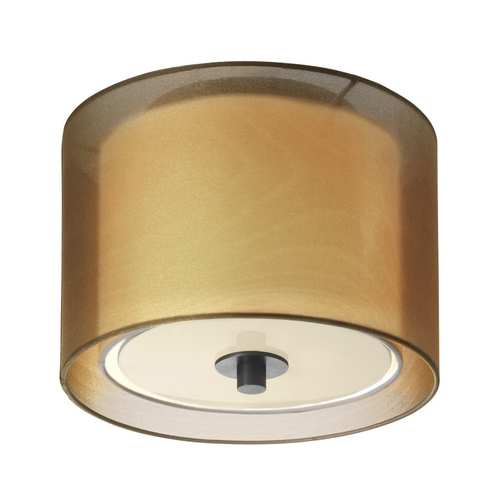 Sonneman Lighting Modern Flushmount Light with Brown Shade in Black Brass Finish 6011.51F