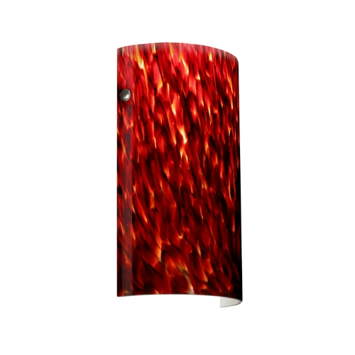 Besa Lighting Modern Sconce Wall Light with Red Glass in Satin Nickel Finish 704241-SN
