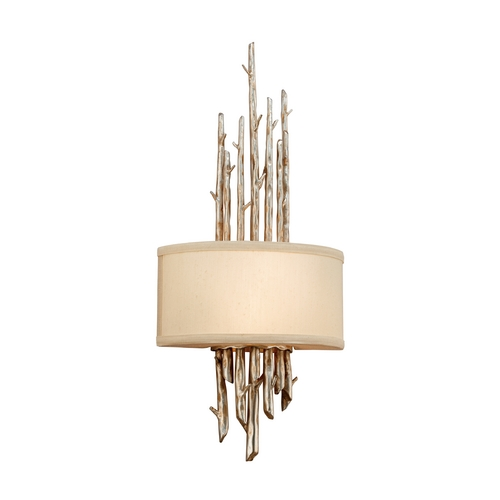 Troy Lighting Sconce Wall Light with Beige / Cream Shade in Silver Leaf Finish B2892