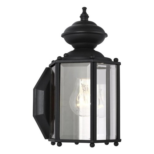 Sea Gull Lighting Outdoor Wall Light with Clear Glass in Black Finish 8507-12