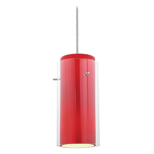 Access Lighting Modern Mini-Pendant Light with Red Glass 28033-1C-BS/CLRD