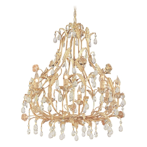 Crystorama Lighting Crystal Chandelier in Champagne Finish 4908-CM
