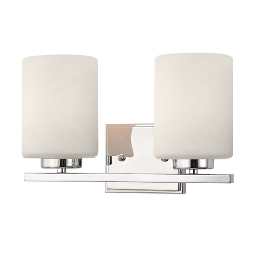 Dolan Designs Lighting Modern Bathroom Light in Chrome Finish with Two Cylinder Glass Shades 3882-26