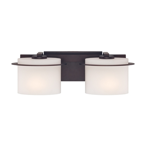 Nuvo Lighting Bathroom Light with White Glass in Venetian Bronze Finish 60/5002