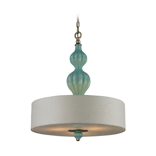 Elk Lighting Drum Pendant Light with White Shades in Aged Silver Finish 31362/3-LA
