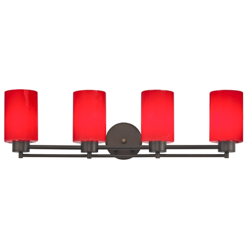 Design Classics Lighting Modern Bathroom Light with Red Glass - Four Lights 704-220 GL1008C