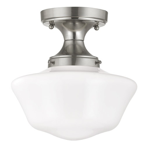 Design Classics Lighting 10-Inch Schoolhouse Ceiling Light in Satin Nickel Finish FDS-09 / GA10