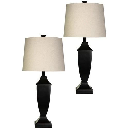 StyleCraft Stylecraft Bronze Wood Table Lamp Set L321732