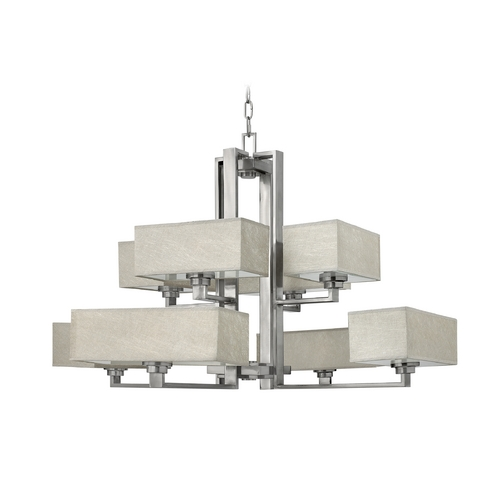 Frederick Ramond Chandelier with Grey Shades in Brushed Nickel Finish FR49458BNI