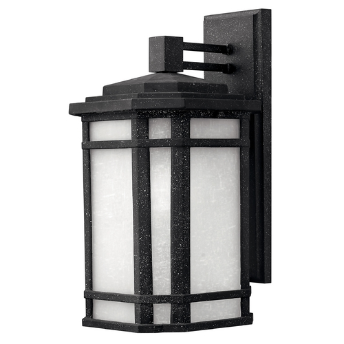 Hinkley Lighting Outdoor Wall Light with White Glass in Vintage Black Finish 1274VK-GU24