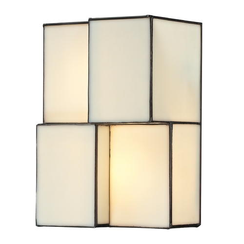Elk Lighting Modern Sconce Wall Light with Beige / Cream Glass in Brushed Nickel Finish 72060-2