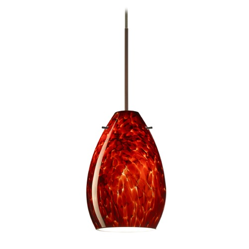 Besa Lighting Besa Lighting Pera Bronze Mini-Pendant Light with Oblong Shade 1XT-171341-BR