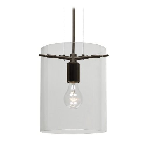 Besa Lighting Besa Lighting Pahu Bronze Mini-Pendant Light with Cylindrical Shade 1KG-C00607-BR-NI