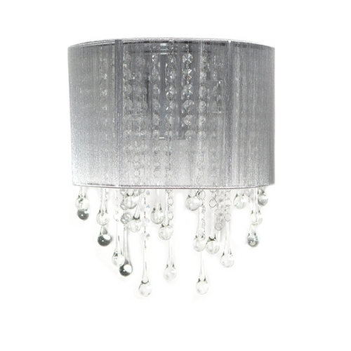Avenue Lighting Avenue Lighting Beverly Drive Crystal Sconce with Silver Silk Shade HF1511-SLV