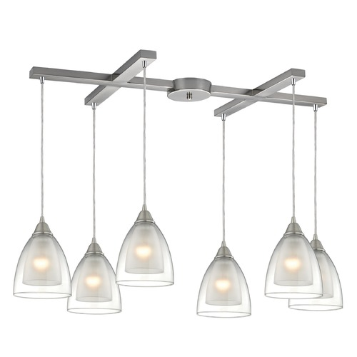 Elk Lighting Elk Lighting Layers Satin Nickel Multi-Light Pendant with Bowl / Dome Shade 10464/6
