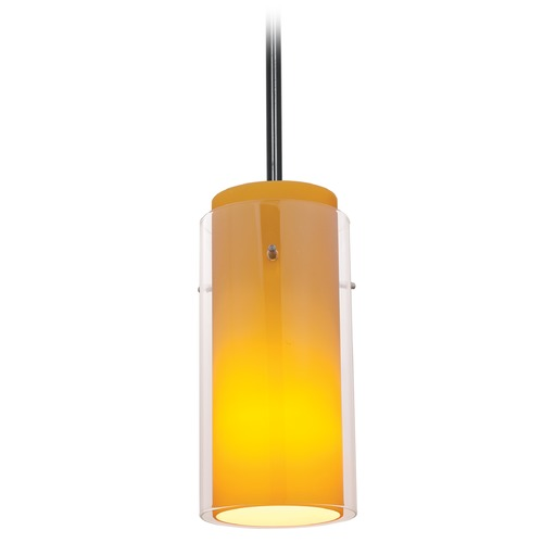 Access Lighting Access Lighting Glass`n Glass Cylinder Oil Rubbed Bronze Mini-Pendant Light with Cylindrical Shade 28033-4R-ORB/CLAM