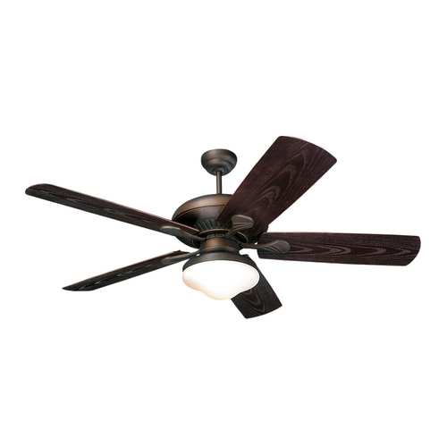 Monte Carlo Fans Ceiling Fan with Light with White Glass in Roman Bronze / Matte Opal Finish 5SH54RBD-L