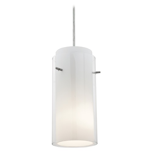 Access Lighting Modern Mini-Pendant Light with White Glass 28033-1C-BS/CLOP