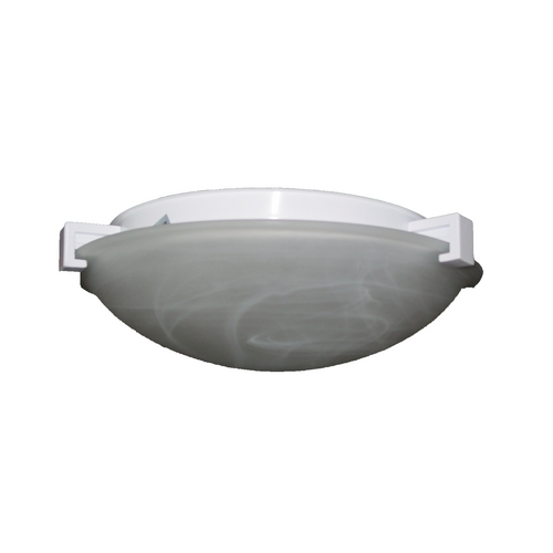 PLC Lighting Modern Flushmount Light with White Glass in White Finish 7019 WH