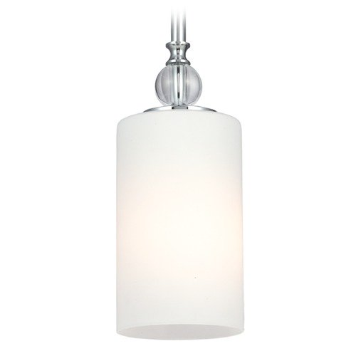 Sea Gull Lighting Sea Gull Lighting Englehorn Chrome / Optic Crystal Mini-Pendant Light with Cylindrical Shade 6113401-05