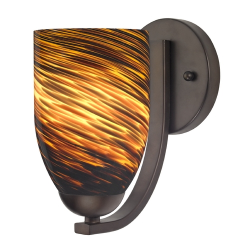 Design Classics Lighting Sconce with Brown Art Glass in Bronze Finish 585-220 GL1023D