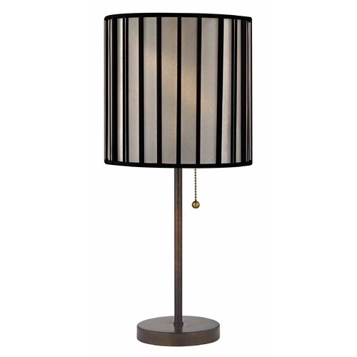 Design Classics Lighting Bronze Pull-Chain Table Lamp and Drum Lamp Shade 1900-604 SH9546