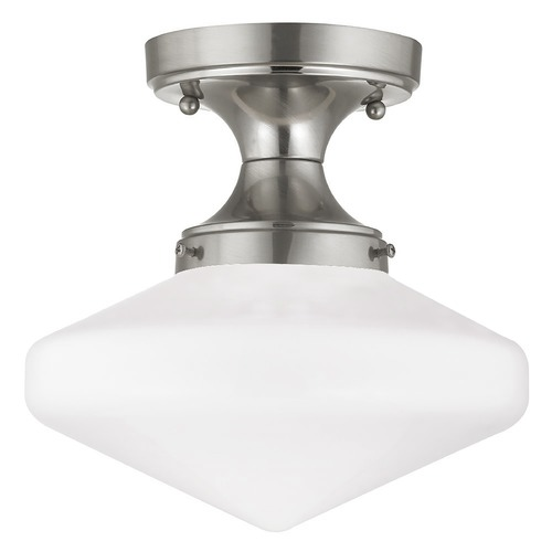 Design Classics Lighting 10-Inch Satin Nickel Schoolhouse Retro Ceiling Light FDS-09 / GE10