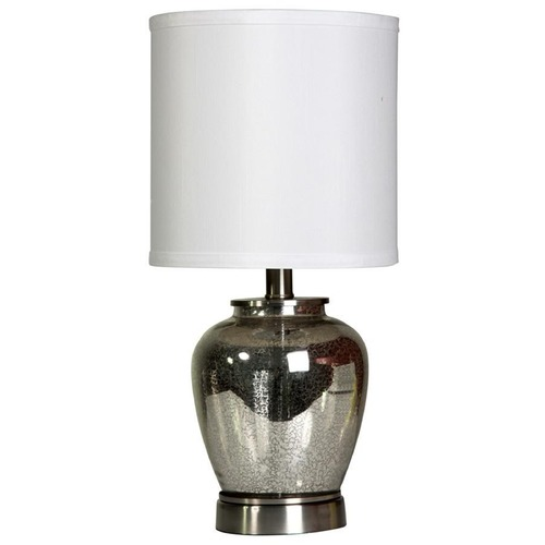 StyleCraft Stylecraft Silver Mercury Table Lamp with Cylindrical Shade L11083