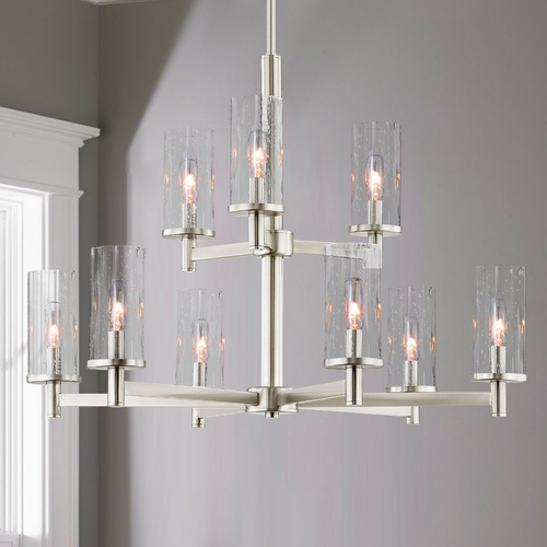 Design Classics Lighting 9-Light Modern Chandelier Seeded Glass Satin Nickel 2959-09