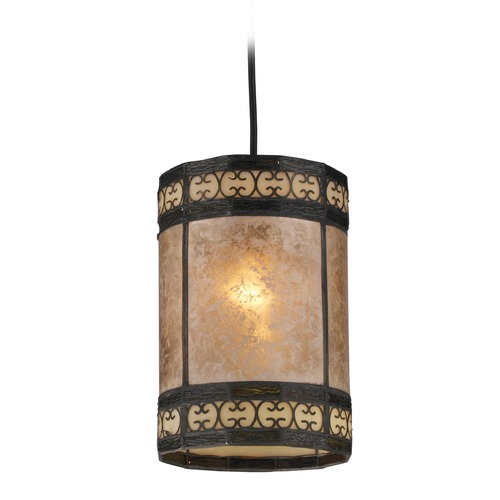 Elk Lighting Elk Lighting Mica Filigree Tiffany Bronze Mini-Pendant Light with Cylindrical Shade 70066-1-LA