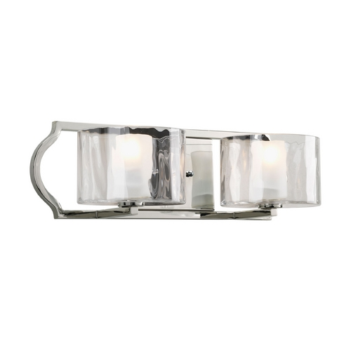 Progress Lighting Progress Bathroom Light with White Glass in Polished Nickel Finish P3076-104WB